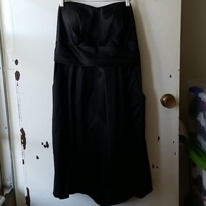 Black Strapless Dress with Back Bow Decoration